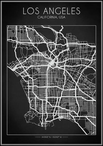 Digital Art - Los Angeles Map by Zapista Zapista