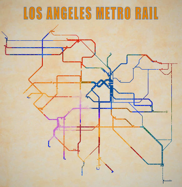 Wall Art - Mixed Media - Los Angeles Metro Rail Map by Dan Sproul