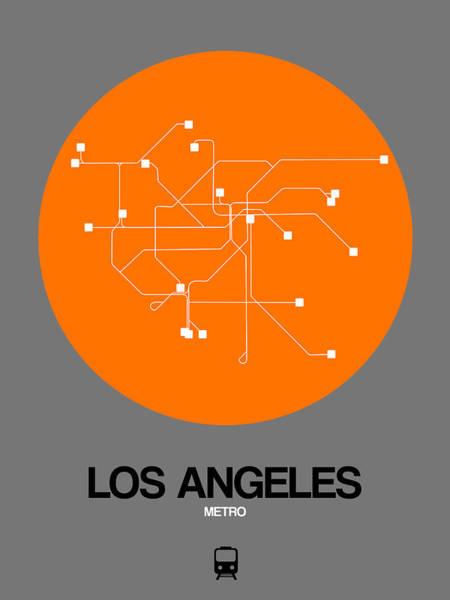 California Digital Art - Los Angeles Orange Subway Map by Naxart Studio