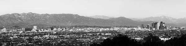Photograph - Los Angeles Panoramic Skyline And Mountain Landscape - Monochrome by Gregory Ballos