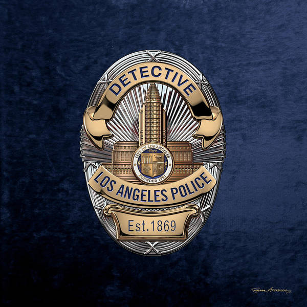 Digital Art - Los Angeles Police Department  -  L A P D  Detective Badge Over Blue Velvet by Serge Averbukh