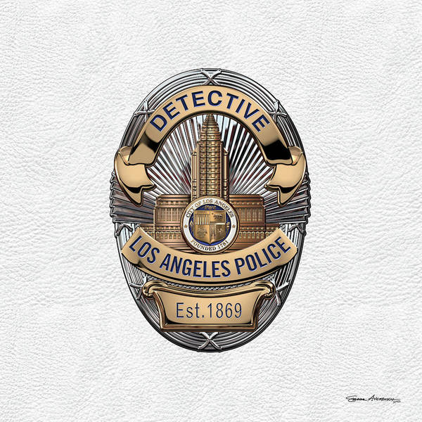 Digital Art - Los Angeles Police Department  -  L A P D  Detective Badge Over White Leather by Serge Averbukh