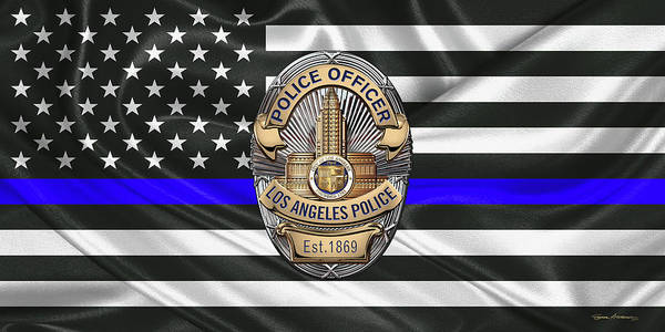 Digital Art - Los Angeles Police Department -  L A P D  Police Officer Badge Over The Thin Blue Line Flag by Serge Averbukh