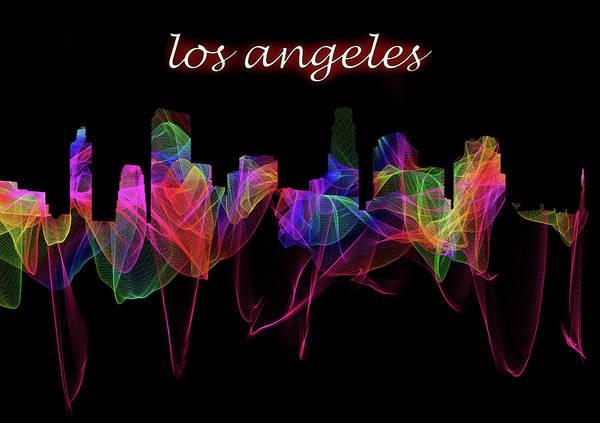 Digital Art - Los Angeles Skyline Art With Script by Debra and Dave Vanderlaan