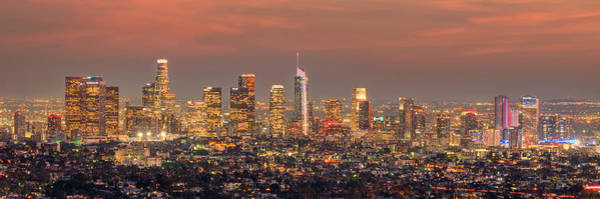 Wall Art - Photograph - Los Angeles Skyline At Dusk Sunset  by Jon Holiday