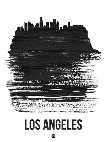 Travel Mixed Media - Los Angeles Skyline Brush Stroke Black by Naxart Studio