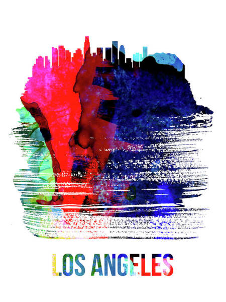 Travel Mixed Media - Los Angeles Skyline Brush Stroke Watercolor   by Naxart Studio