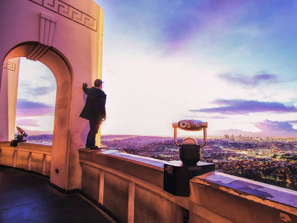 Painting - Los Angeles Skyline From Griffith Observatory by Christopher Arndt