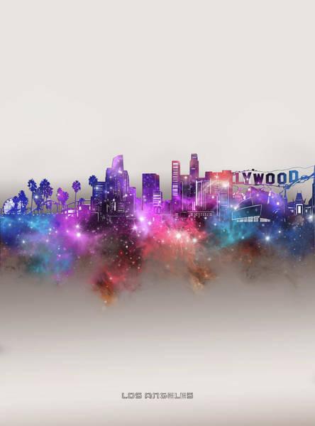 Wall Art - Digital Art - Los Angeles Skyline Galaxy by Bekim M
