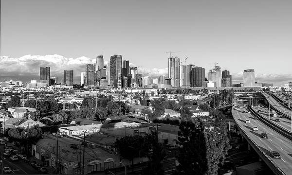 Photograph - Los Angeles Skyline Looking East 2.9.19 - Black And White by Gene Parks