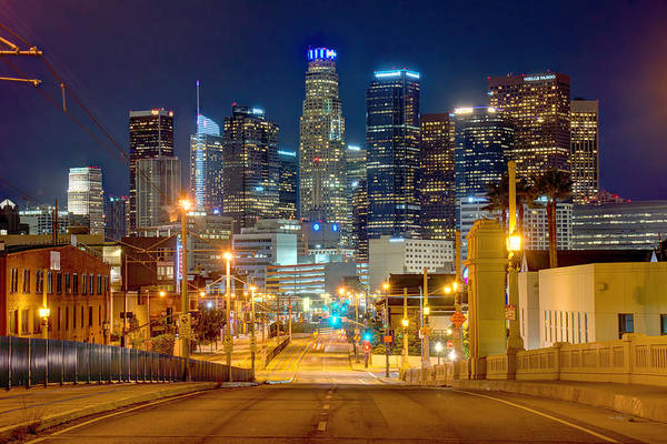 Wall Art - Photograph - Los Angeles Skyline Night From The East by Jon Holiday