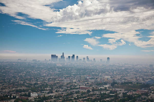 Pollution Photograph - Los Angeles Skyline With Smog by Justin Lambert