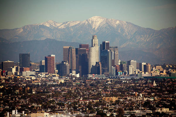 Photograph - Los Angeles Skyline With Snow Capped by Sterling Davis Photo
