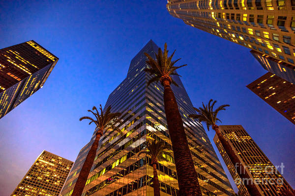 Photograph - Los Angeles Skyscrapers Night by Benny Marty