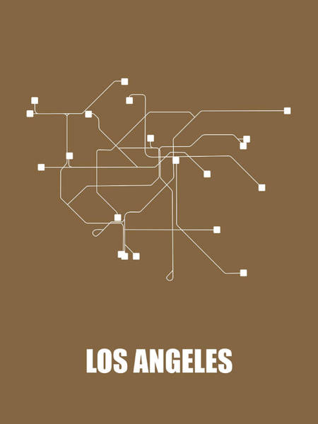 Wall Art - Digital Art - Los Angeles Subway Map 2 by Naxart Studio
