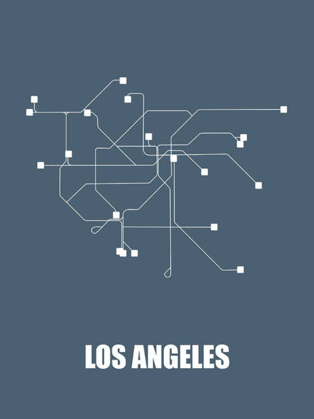 Wall Art - Digital Art - Los Angeles Subway Map by Naxart Studio