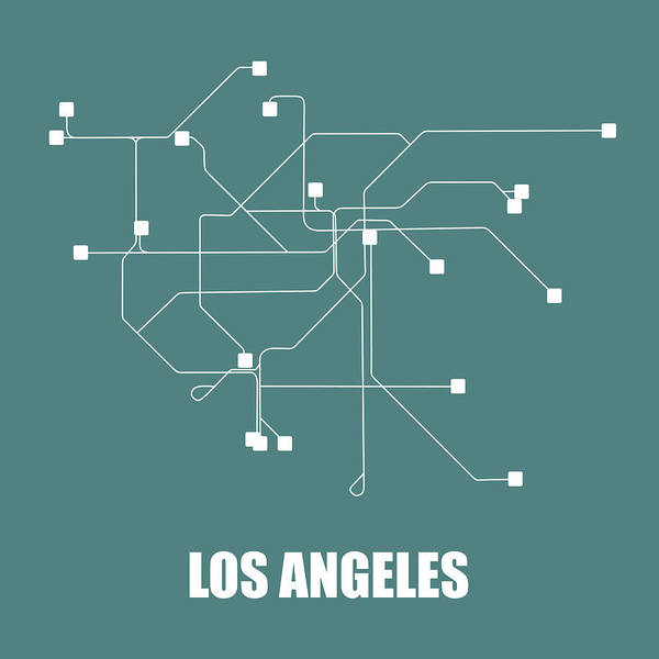Wall Art - Digital Art - Los Angeles Teal Subway Map by Naxart Studio