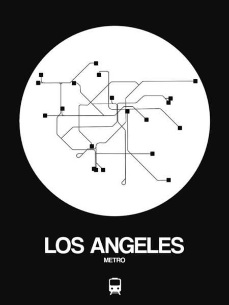 California Digital Art - Los Angeles White Subway Map by Naxart Studio