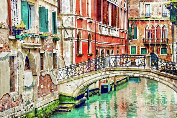 Urban Scene Painting - Lost In Venice by Delphimages Photo Creations
