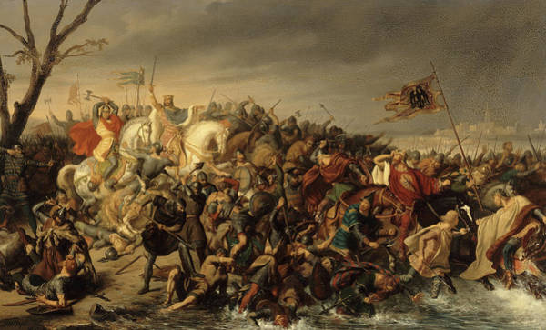 Wall Art - Painting - Lothar Defeats Emperor Otto IIi On The Banks Of The Aisne, 978 by Charles Durupt