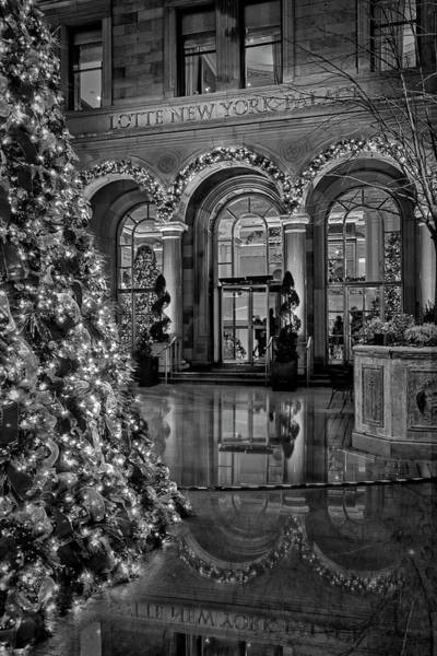Photograph - Lotte New York Palace Hotel Bw by Susan Candelario