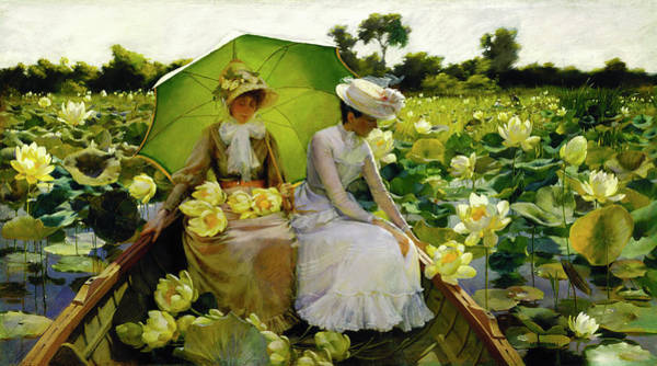 Wall Art - Photograph - Lotus Lilies - Charles Courtney Curran 1888 by Daniel Hagerman