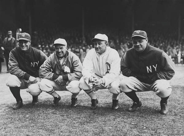 Wall Art - Photograph - Lou Gehrig, Tris Speaker, Ty Cobb, And Babe Ruth 1928 by Mountain Dreams