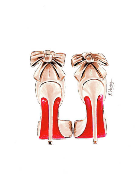 Fashion Drawing - Louboutins Shoes by Viktoryia Lavtsevich