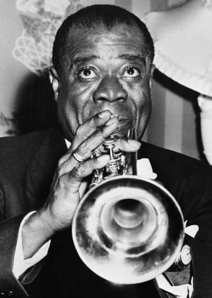 Photograph - Louis Armstrong Blowing His Horn by Bettmann