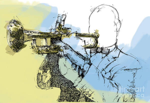 Yellow Trumpet Digital Art - Louis Armstrong Jazz Trumpet Ink Drawing Original Sketch by Drawspots Illustrations