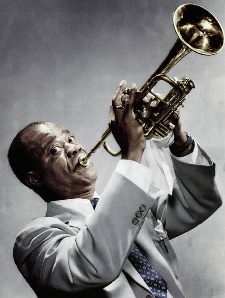Photograph - Louis Armstrong Playing The Trumpet by Bettmann