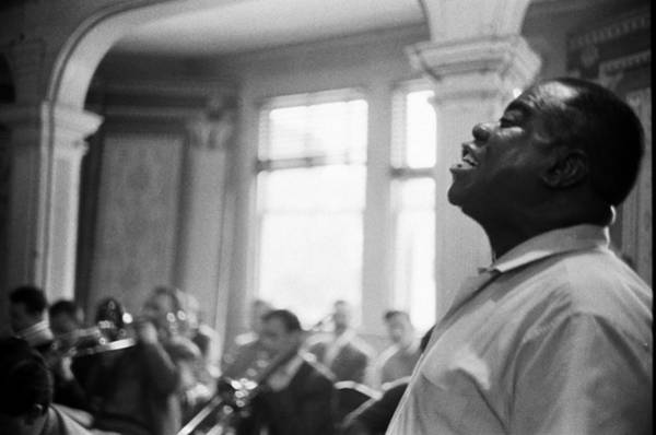 Photograph - Louis Armstrong Sings At A Church by Michael Ochs Archives