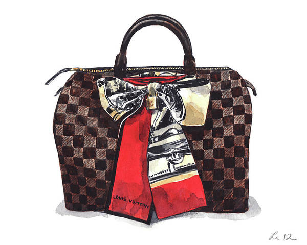 Wall Art - Painting - Louis Vuitton Bag Damier Ebene Speedy 1 by Laura Row