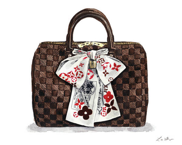 Wall Art - Painting - Louis Vuitton Damier Ebene Speedy With Scarf by Laura Row