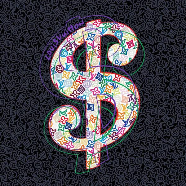 Wall Art - Painting - Louis Vuitton Dollar Sign-2 by Nikita