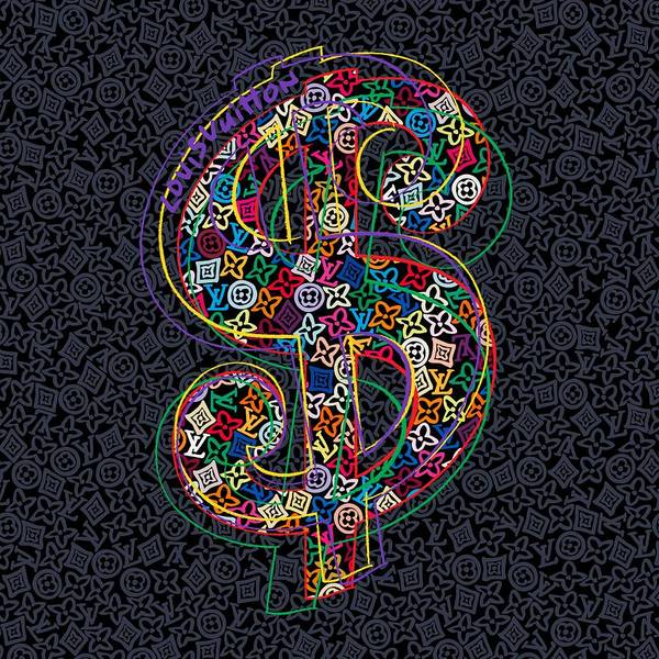 Wall Art - Painting - Louis Vuitton Dollar Sign-8 by Nikita