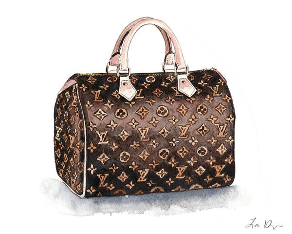 Wall Art - Painting - Louis Vuitton Monogram Speedy Bag by Laura Row