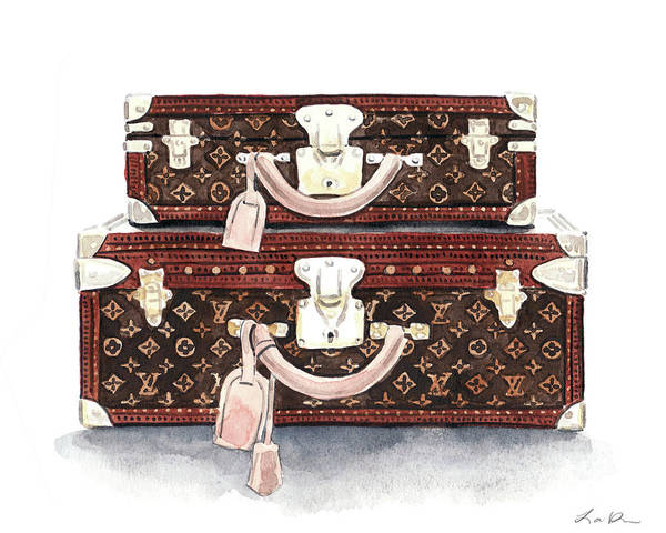 Wall Art - Painting - Louis Vuitton Trunks In Monogram by Laura Row