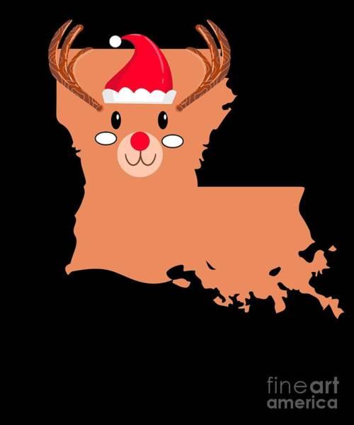 Ugly Digital Art - Louisiana Christmas Hat Antler Red Nose Reindeer by TeeQueen2603