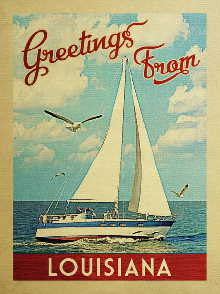 Seagull Digital Art - Louisiana Sailboat Vintage Travel	 by Flo Karp