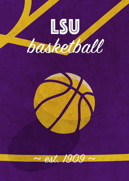 Wall Art - Mixed Media - Louisiana State University Retro College Basketball Team Poster by Design Turnpike