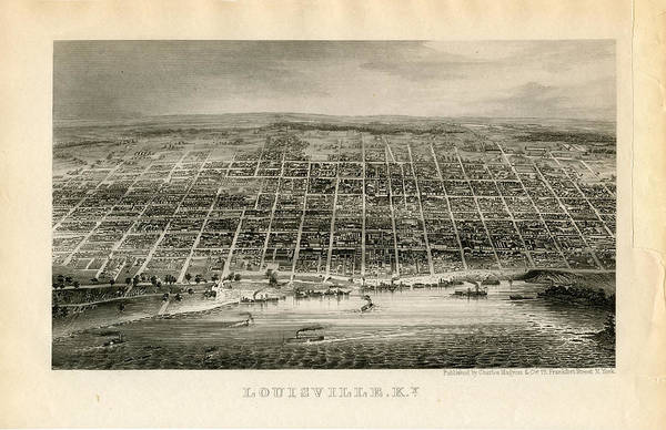Outdoors Digital Art - Louisville 1850 To 1899 Birds Eye View by Historic Map Works Llc