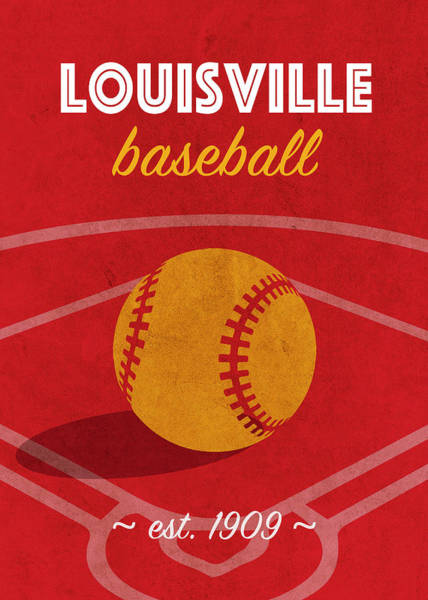 Wall Art - Mixed Media - Louisville Baseball College Sports Team Retro Vintage Poster Series by Design Turnpike