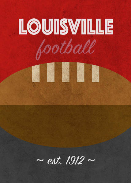 Cardinal Mixed Media - Louisville College Football Team Vintage Retro Poster by Design Turnpike