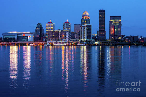 Photograph - Louisville Kentucky Skyline After Sunset - Ohio River by Gary Whitton