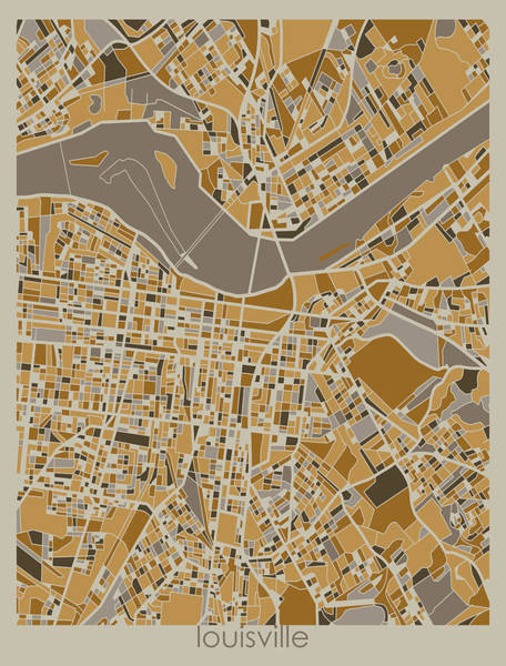Wall Art - Digital Art - Louisville Map Retro 4 by Bekim M