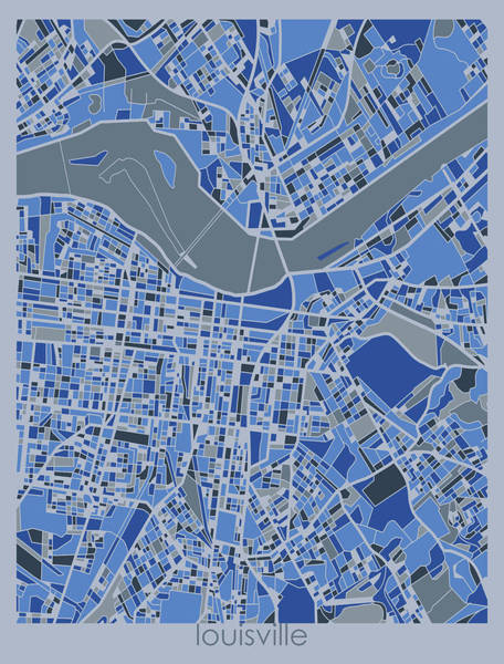 Wall Art - Digital Art - Louisville Map Retro 5 by Bekim M