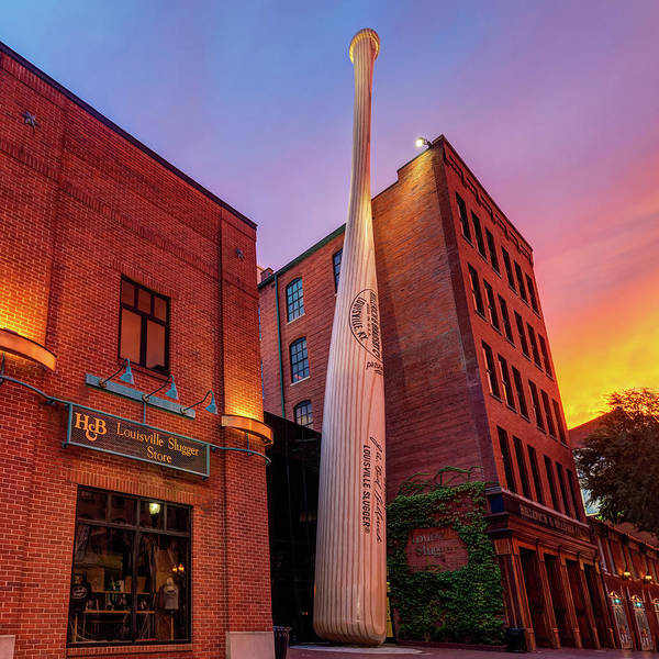 Photograph - Louisville Slugger At Sunset - Louisville Kentucky Skyline by Gregory Ballos
