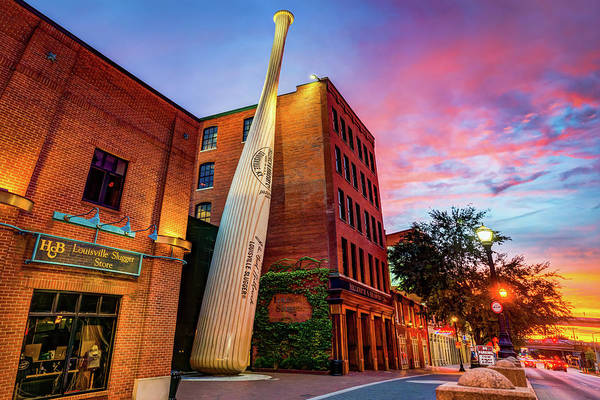Photograph - Louisville Slugger Baseball Bat - Kentucky Fire Sunset by Gregory Ballos