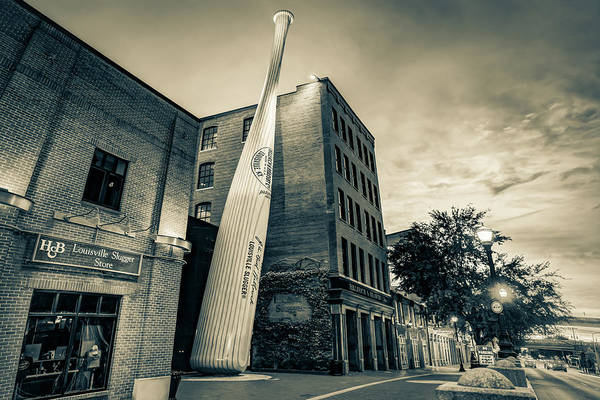Photograph - Louisville Slugger Baseball Bat - Kentucky Monochrome Sepia by Gregory Ballos